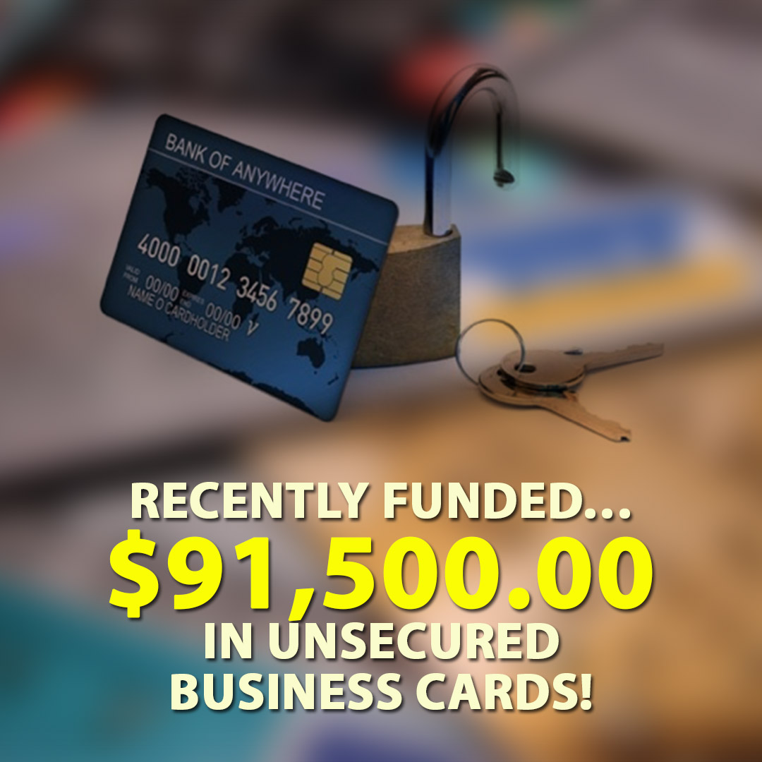 Recently funded $91500.00 in Unsecured business cards! 1080X1080
